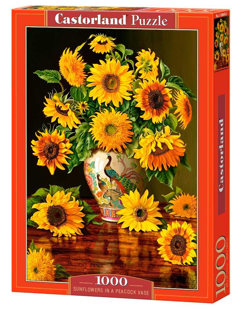 Puzzle Castorland Girasoles en Florero Pavo Real de 1000 Piezas