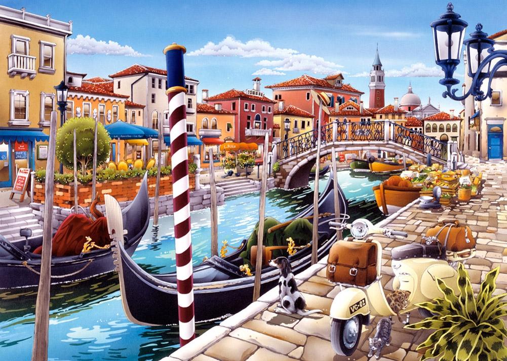 Puzzle Castorland Góndola en el Canal de Venecia de 1000 Piezas