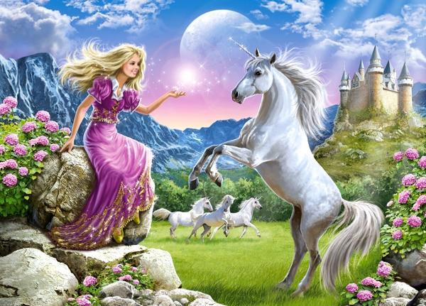 Puzzle Castorland Jugando con el Unicornio de 180 Piezas