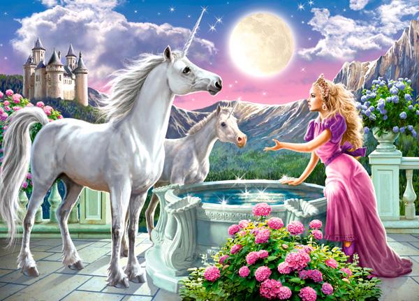 Puzzle Castorland La Princesa y Sus Unicornios de 120 Piezas