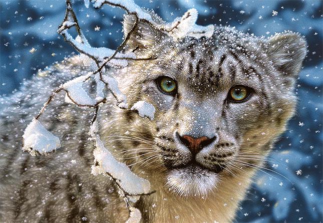Puzzle Castorland Leopardo en la Nieve de 1500 Piezas