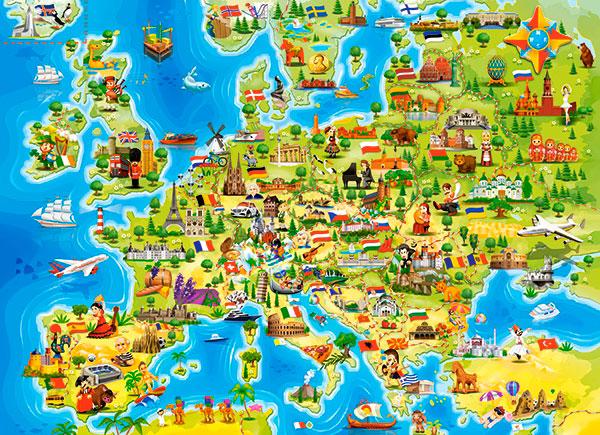 Puzzle Castorland Mapa de Europa de 100 Piezas