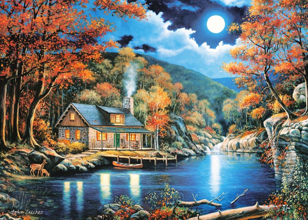 Puzzle Castorland Noche en la Cabaña del Lago de 2000 Piezas