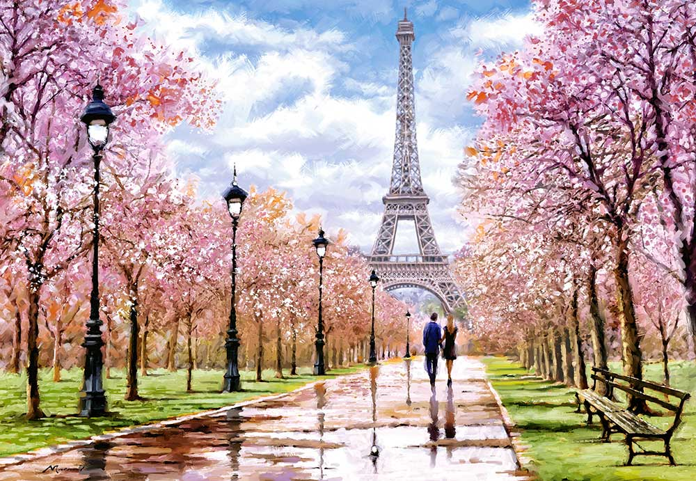 Puzzle Castorland Paseo Romántico en París de 1000 Piezas