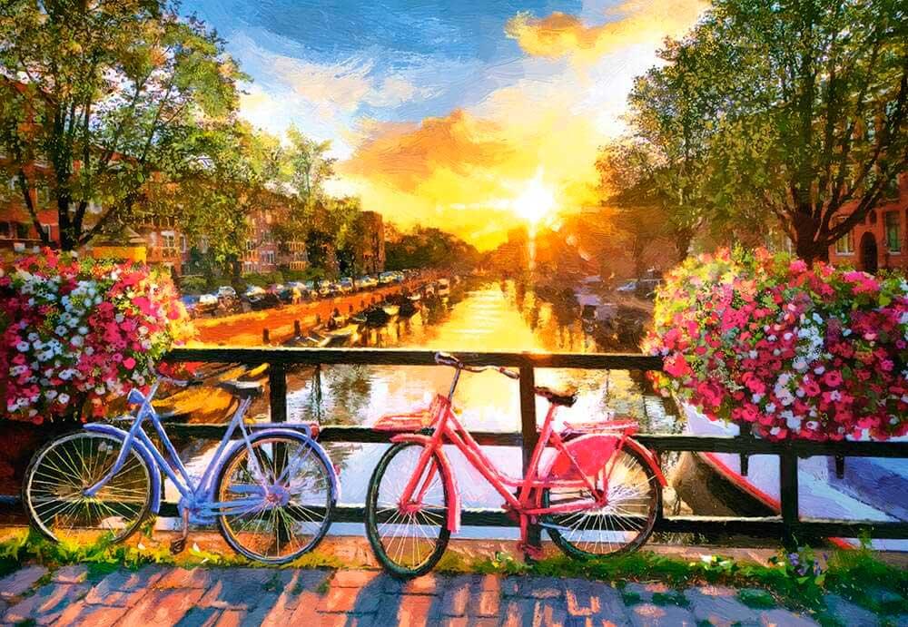 Puzzle Castorland Pintoresca Amsterdam con Bicicletas de 1000 Pz