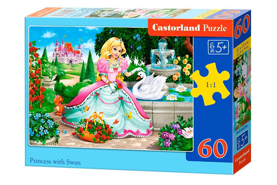 Puzzle Castorland Princesa con Cisne de 60 Piezas