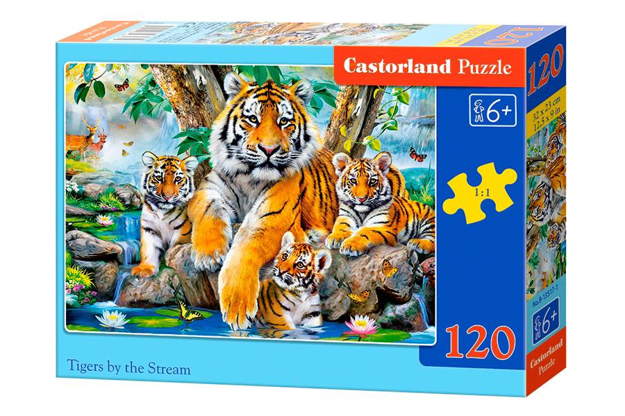 Puzzle Castorland Tigres en el Arroyo 120 Piezas