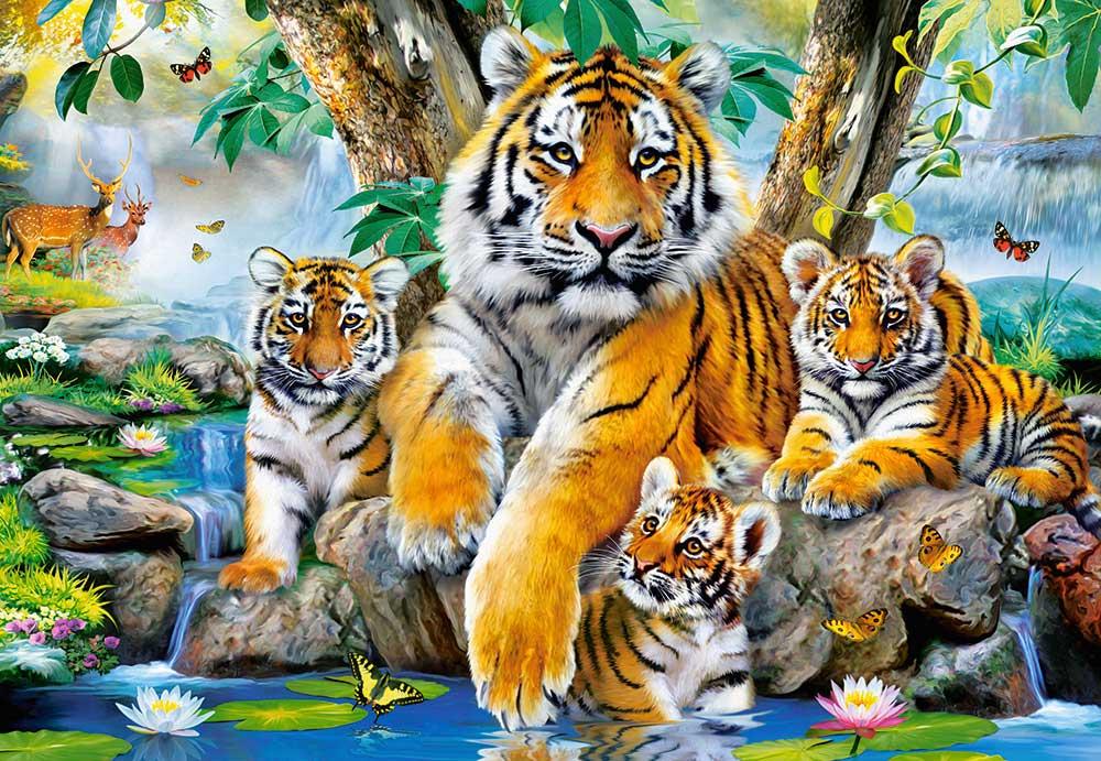 Puzzle Castorland Tigres en el Arroyo de 1000 Piezas