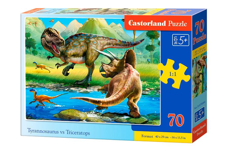 Puzzle Castorland Tiranosaurio Contra Triceratops de 70 Piezas