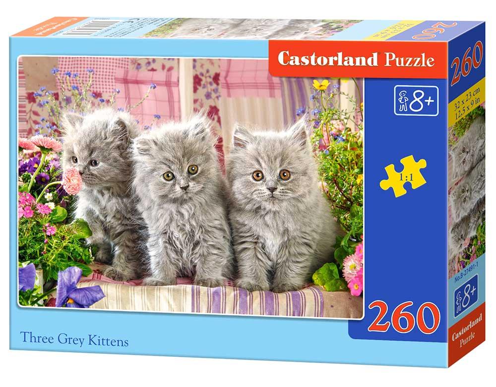 Puzzle Castorland Tres Gatitos Grises de 260 Piezas
