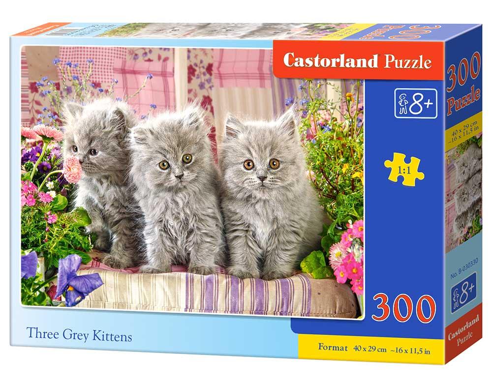Puzzle Castorland Tres Gatitos Grises de 300 Piezas