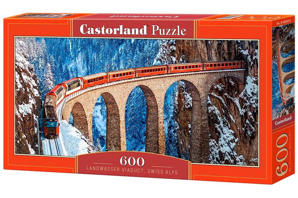 Puzzle Castorland Viaducto Landwasser, Alpes Suizos 600 Piezas