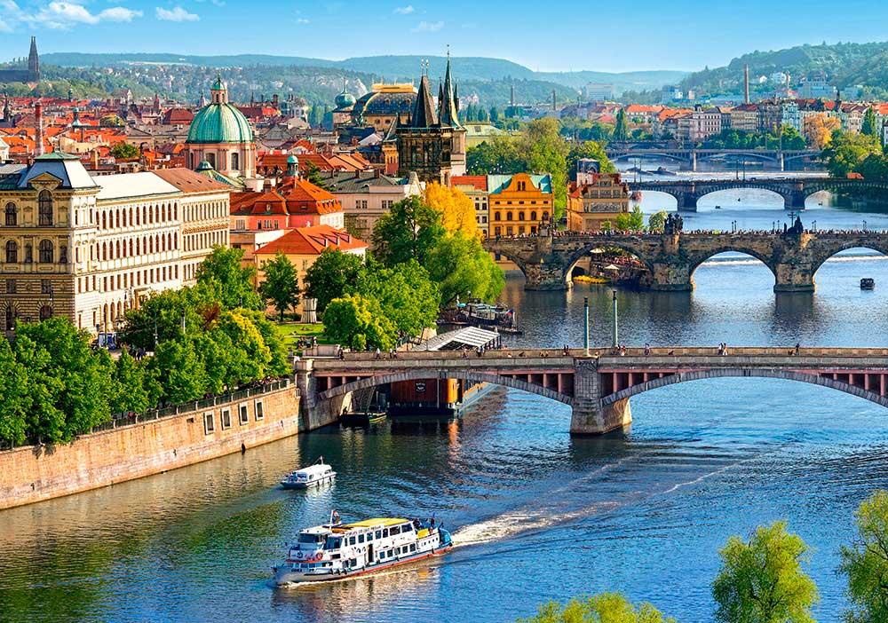 Puzzle Castorland Vista de los Puentes en Praga de 500 Piezas