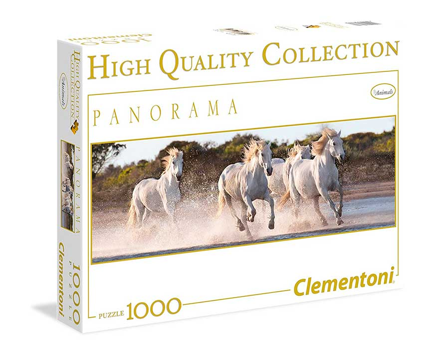 Puzzle Clementoni Caballos Blancos al Galope de 1000 Piezas