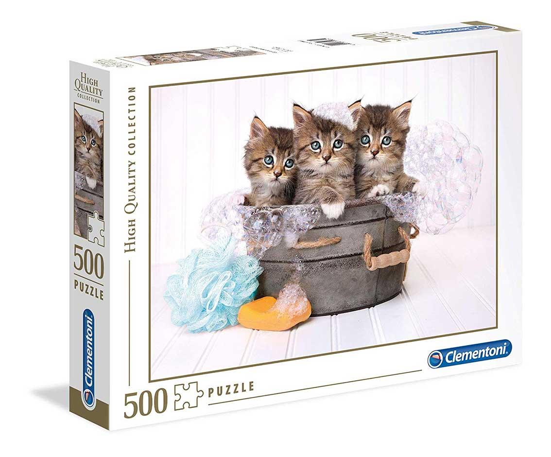 Puzzle Clementoni Gatitos en el Baño de 500 Piezas