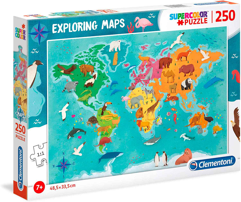 Puzzle Clementoni Mapa de Animales por el Mundo de 250 Pzs