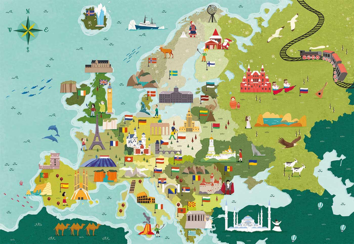 Puzzle Clementoni Mapa de Hitos de Europa de 250 Pzs