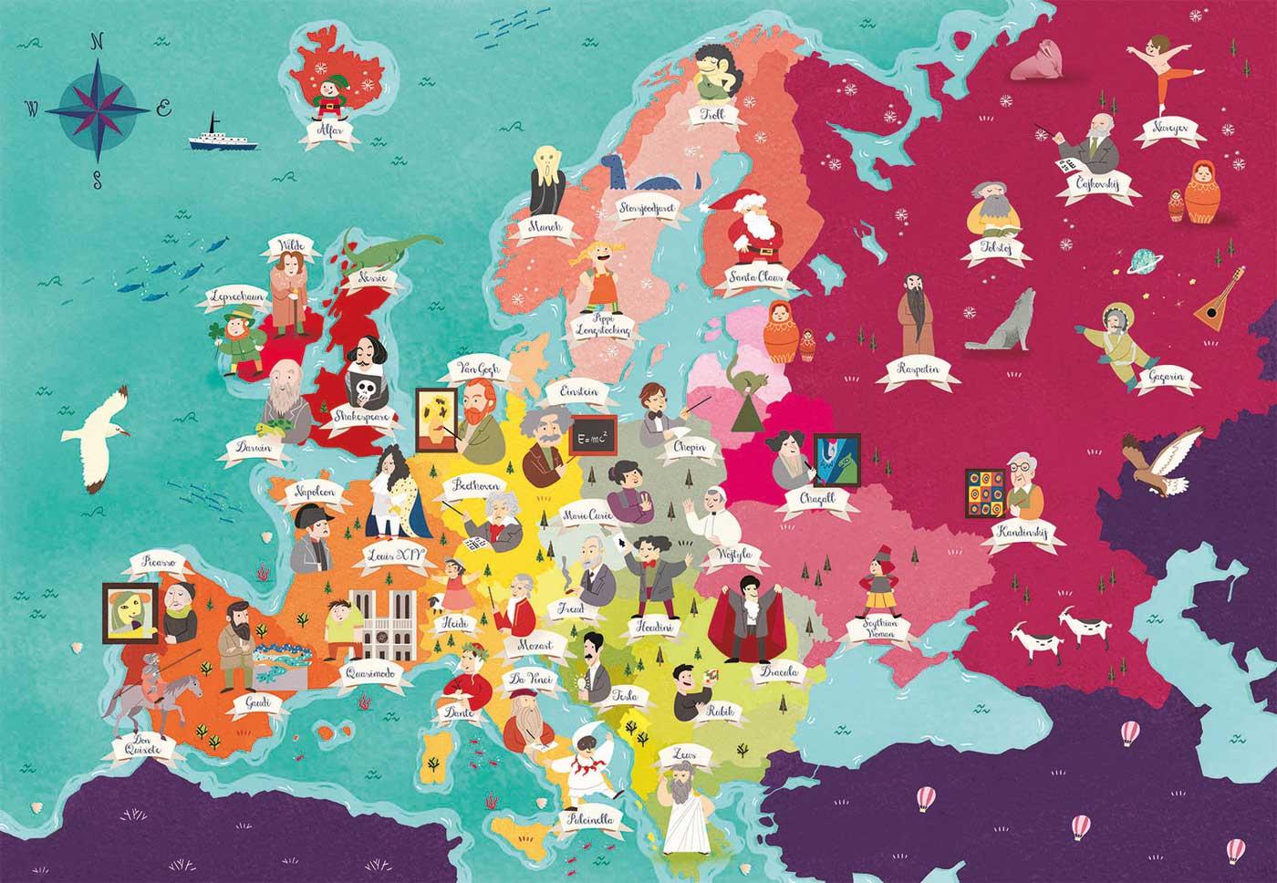 Puzzle Clementoni Mapa de Personajes de Europa de 180 Piezas