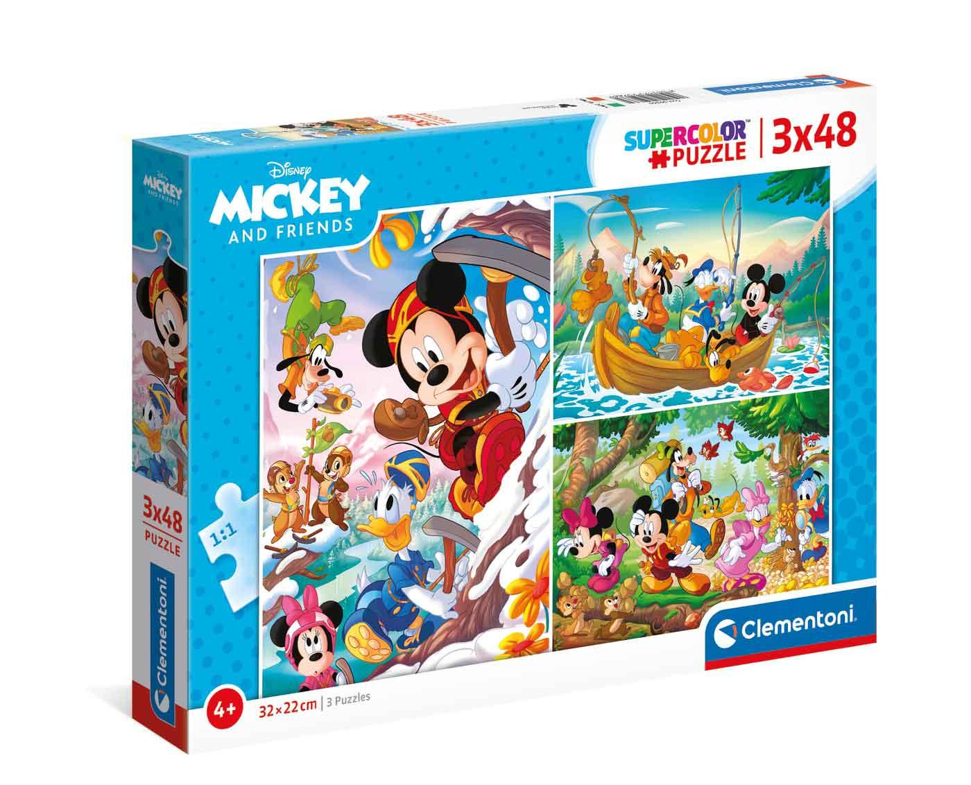 Puzzle Clementoni Mickey y Amigos de 3 x 48 Piezas