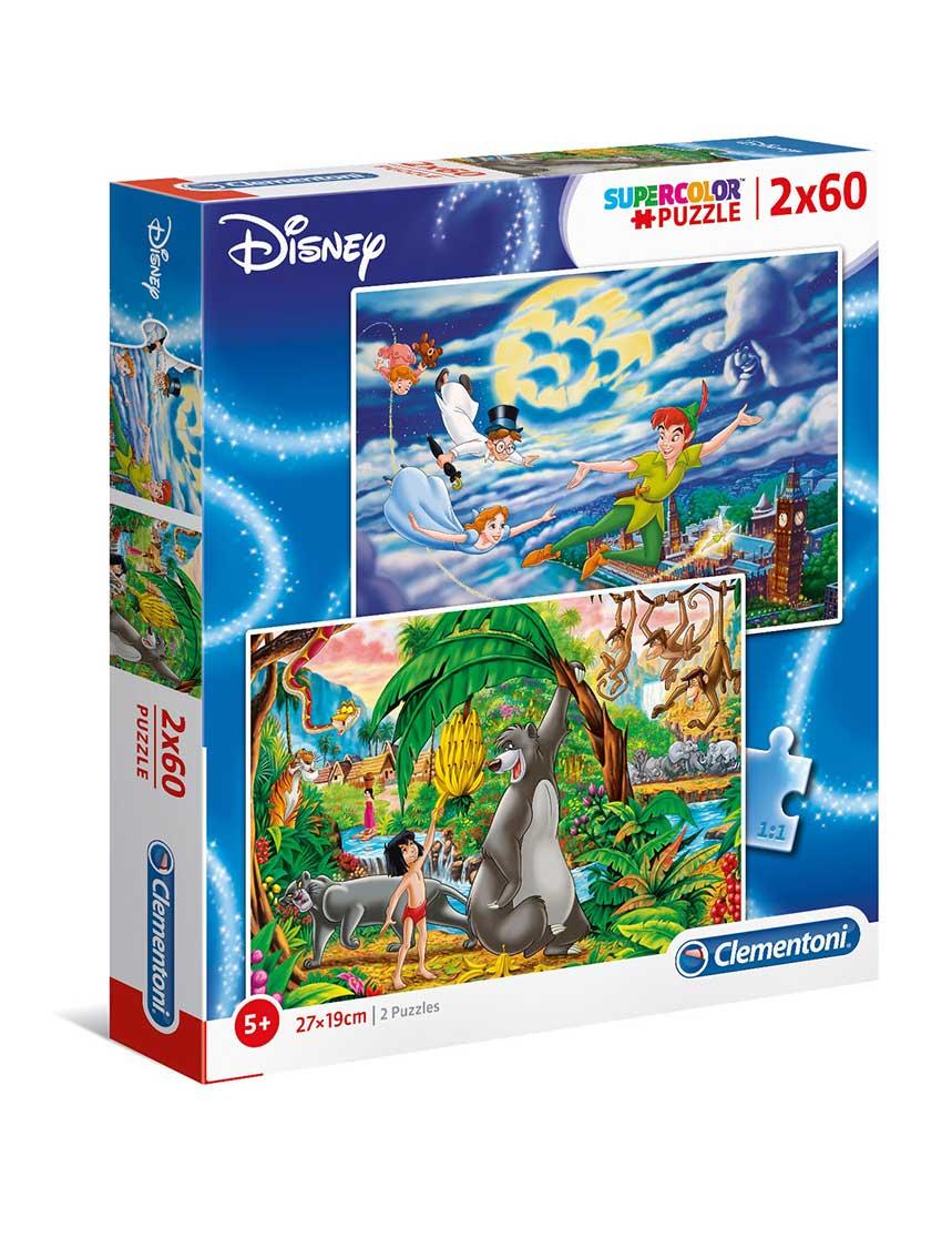 Puzzle Clementoni Peter Pan y Libro de la Selva 2 x 60 Piezas