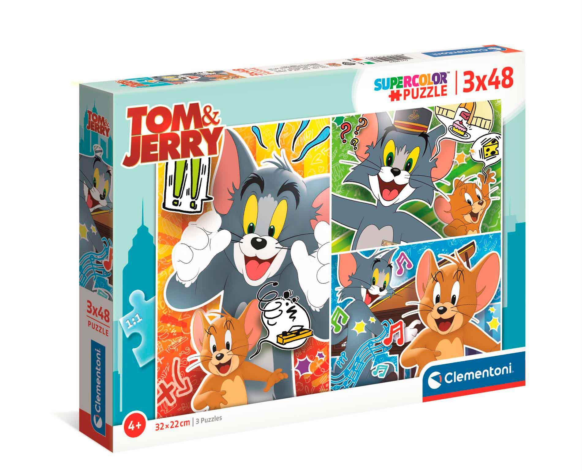 Puzzle Clementoni Tom y Jerry de 3 x 48 Piezas