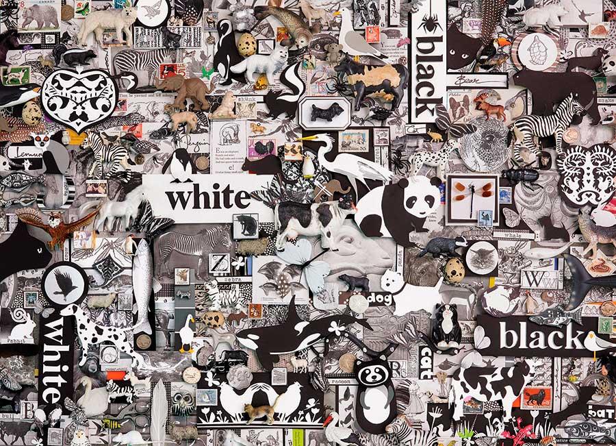 Puzzle Cobble Hill Blanco y Negro: Animales de 1000 Piezas