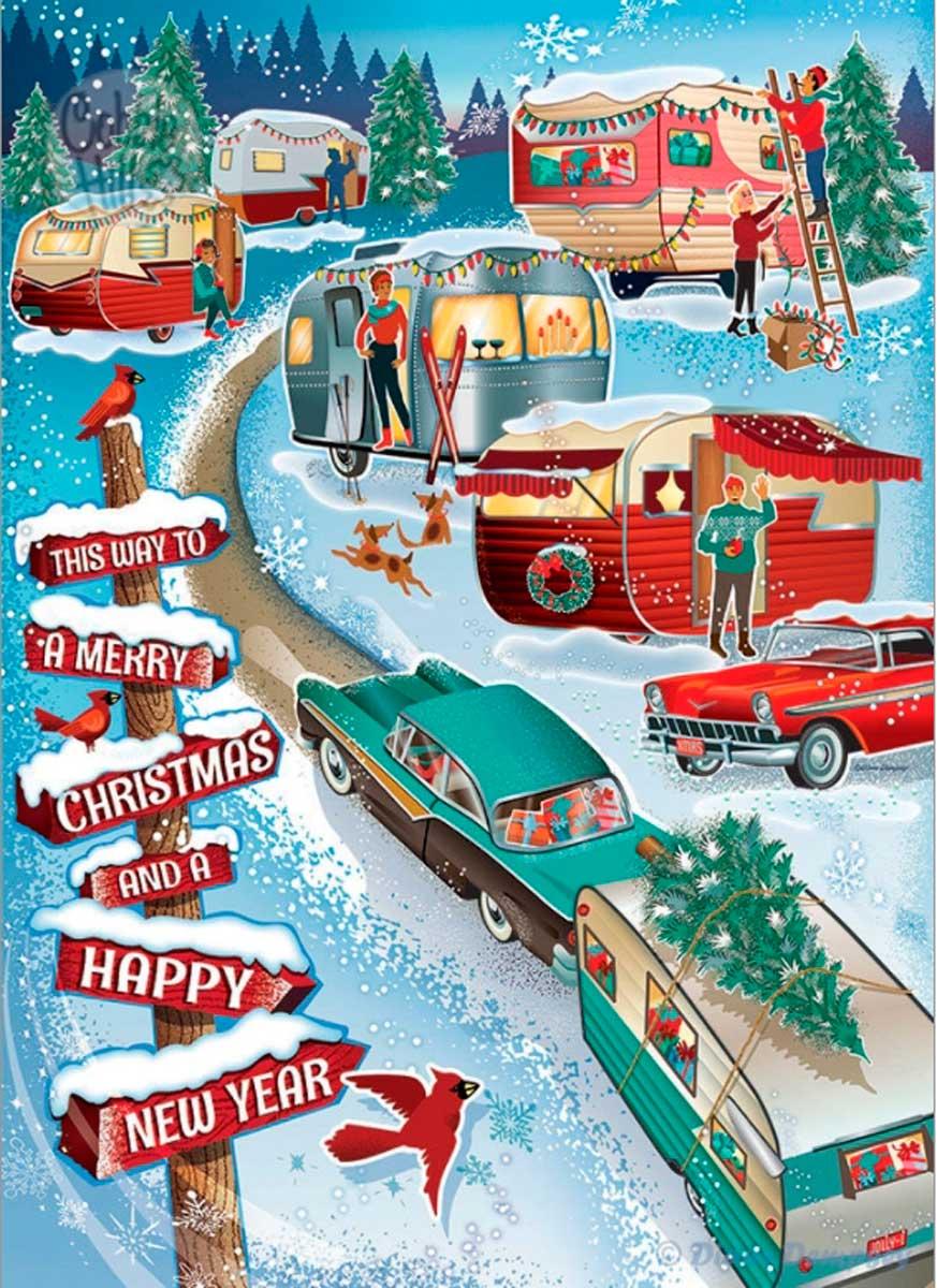 Puzzle Cobble Hill Campistas de Navidad de 1000 Piezas