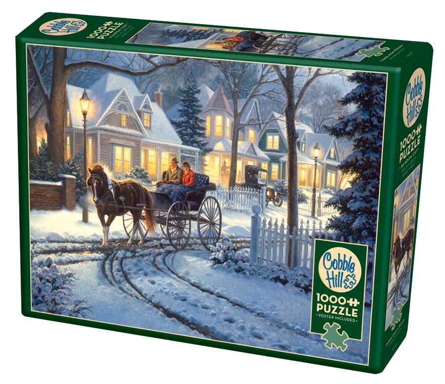 Puzzle Cobble Hill Coche de Caballos en la Nieve de 1000 Piezas