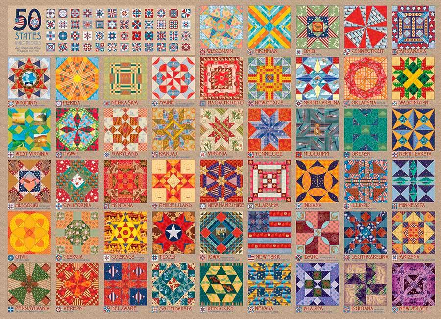 Puzzle Cobble Hill Colcha de los 50 Estados de 1000 Piezas