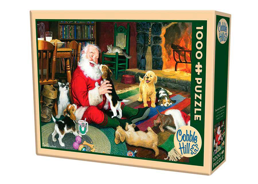 Puzzle Cobble Hill Jugando con Papá Noel de 1000 Piezas