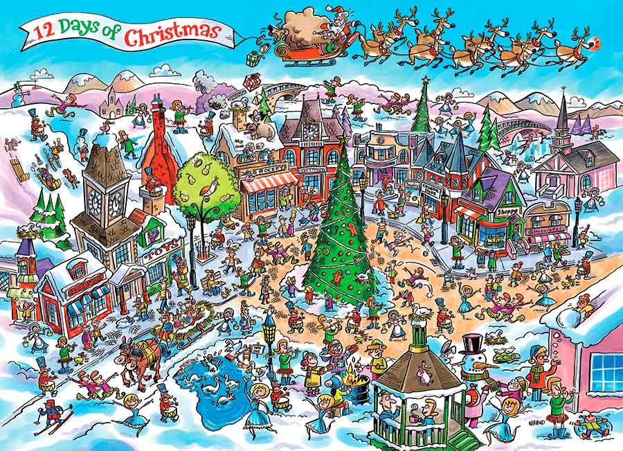 Puzzle Cobble Hill Doce Días de Navidad de 1000 Piezas