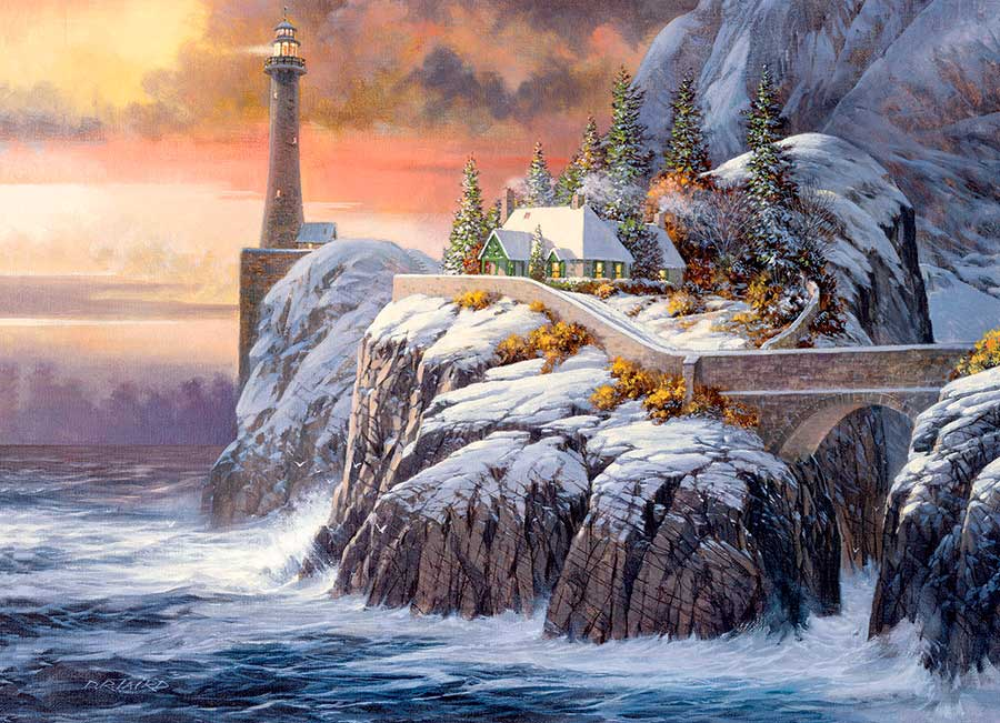 Puzzle Cobble Hill Faro de Invierno de 1000 Piezas