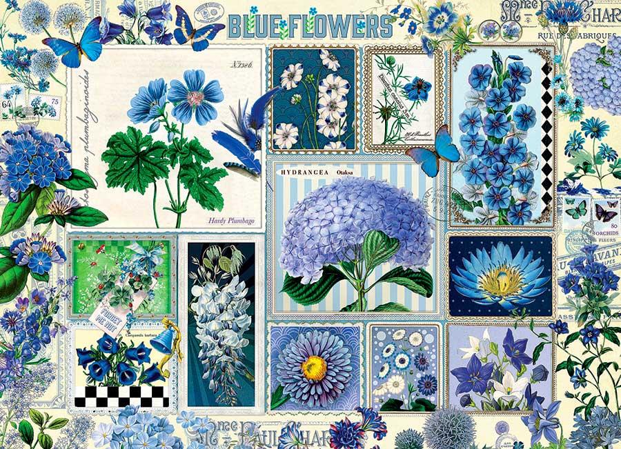 Puzzle Cobble Hill Flores Azules de 1000 Piezas
