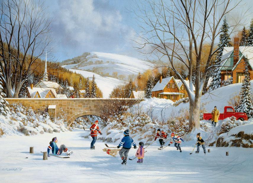 Puzzle Cobble Hill Hockey sobre Lago Helado de 1000 Piezas