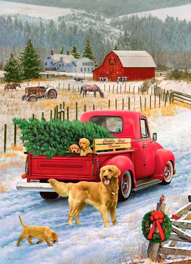 Puzzle Cobble Hill Navidad en la Granja de 1000 Piezas