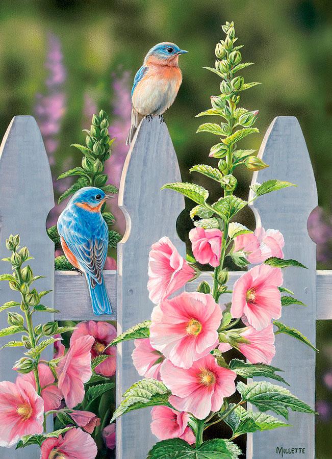Puzzle Cobble Hill Pájaros Azules y Malvas de 1000 Piezas