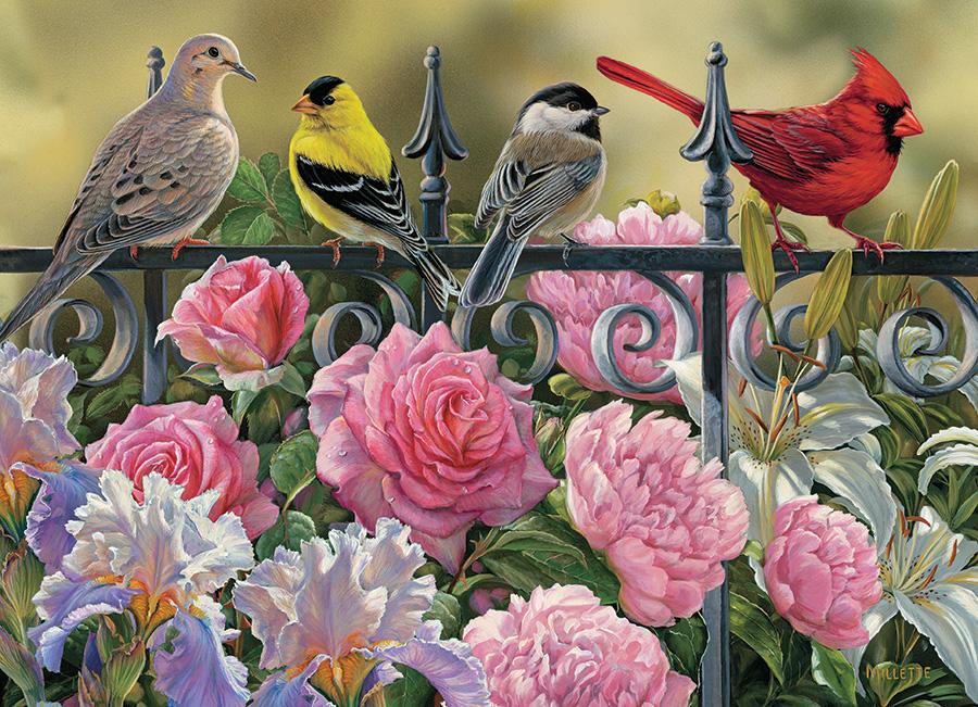 Puzzle Cobble Hill Pájaros Sobre la Verja 1000 Piezas