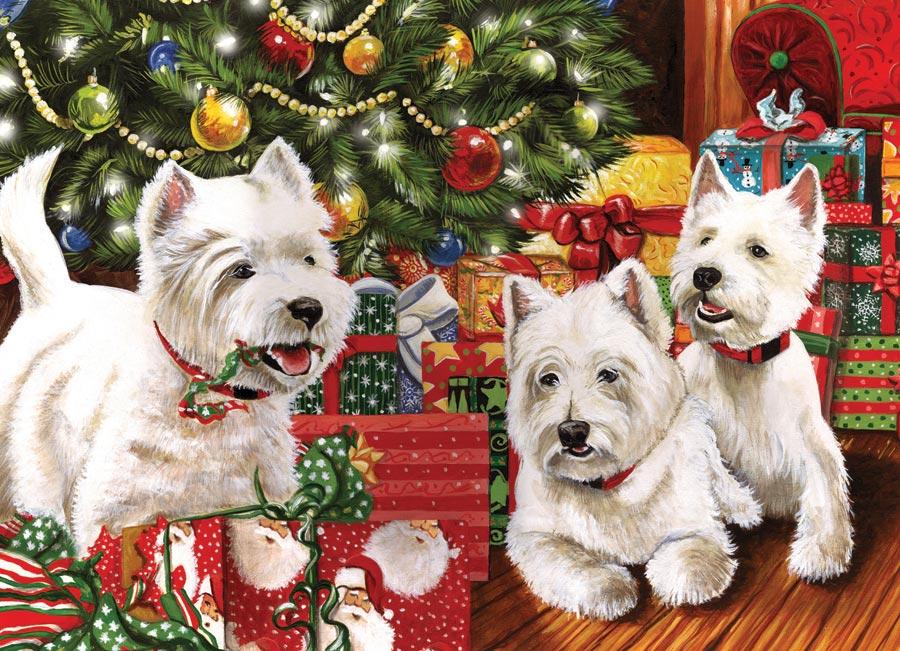Puzzle Cobble Hill Scotties bajo el Arbol de Navidad 1000 Piezas