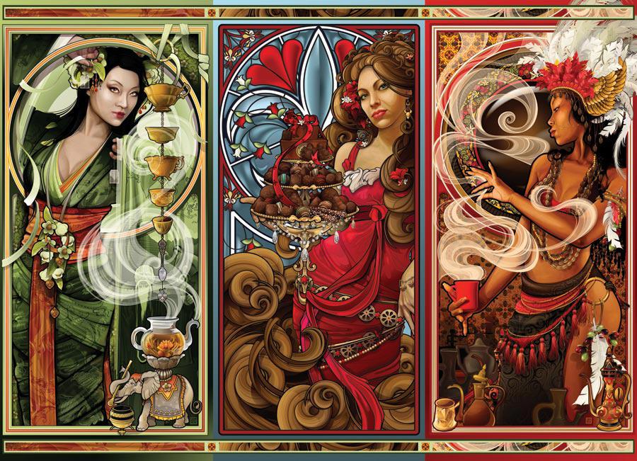 Puzzle Cobble Mujeres de Fantasía de 1000 Piezas
