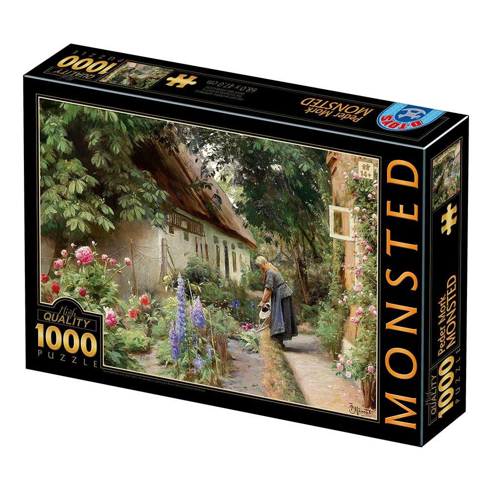 Puzzle D-Toys Anciana Regando en la Granja Thached de 1000 Pzs