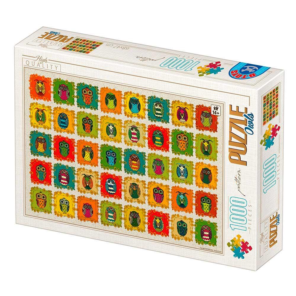 Puzzle D-Toys Collage de Búhos de 1000 Piezas