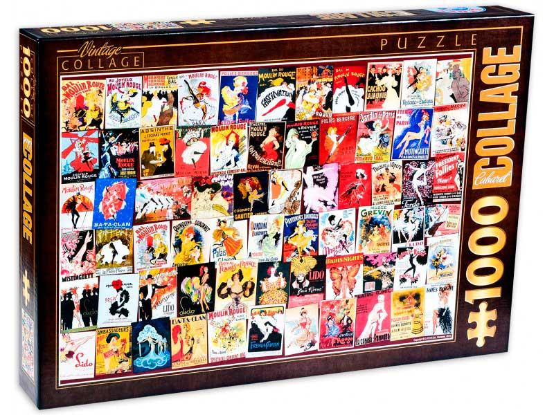 Puzzle D-Toys Collage Vintage, Cabaret de 1000 Piezas