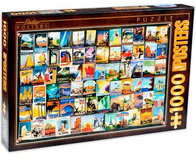 Puzzle D-Toys Collage Vintage, Viajes de 1000 Piezas
