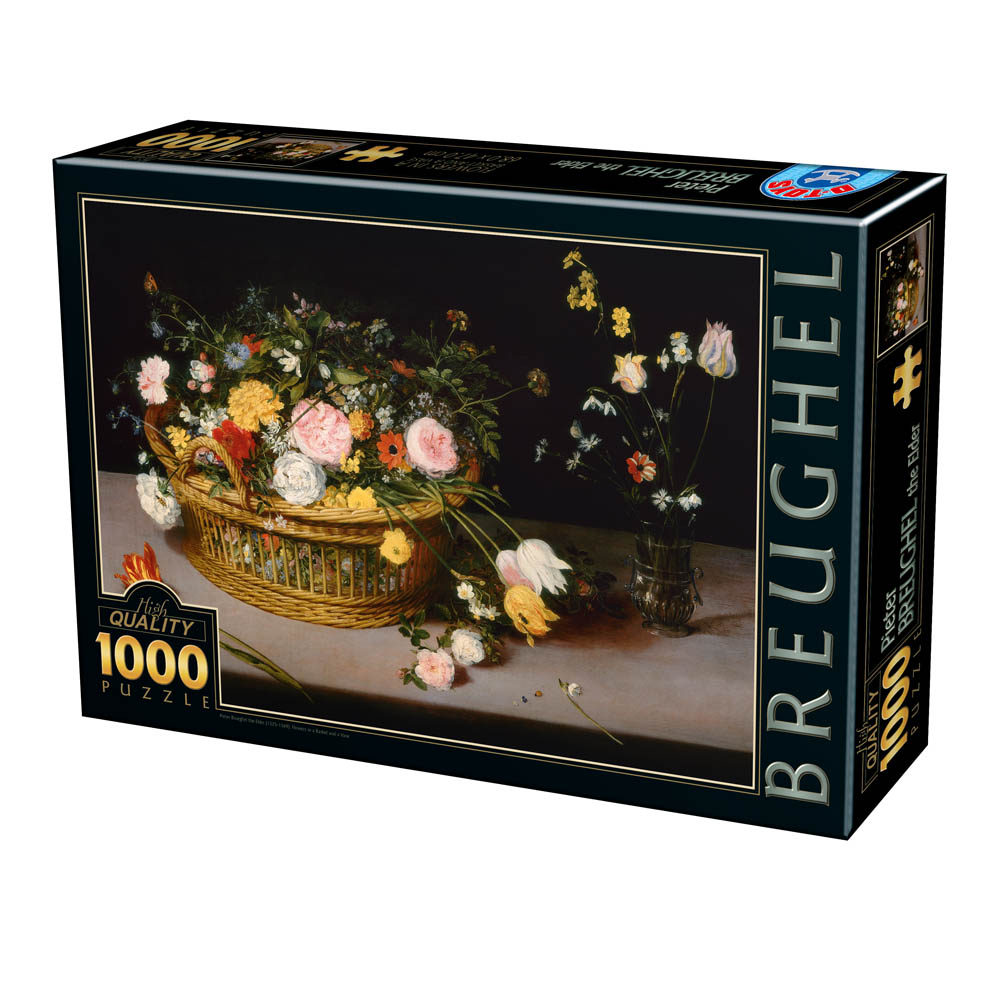 Puzzle D-Toys Flores en una Cesta de Madera de 1000 Piezas