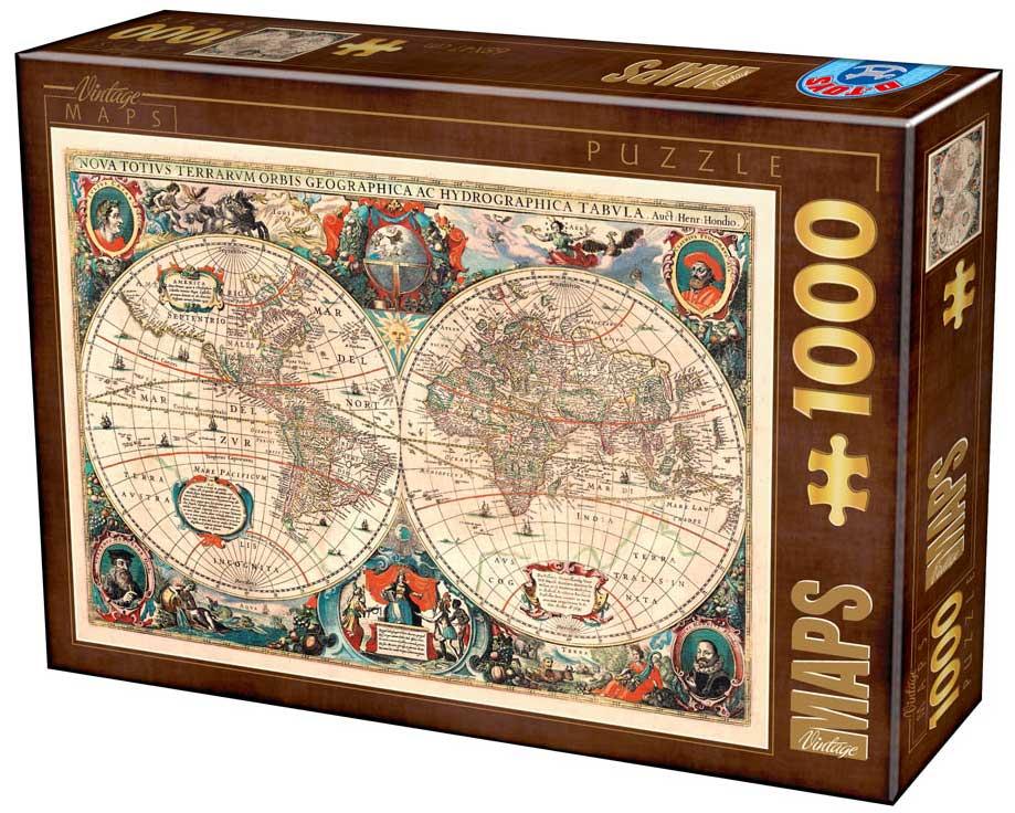 Puzzle D-Toys Mapa del Mundo Vintage de 1000 Piezas