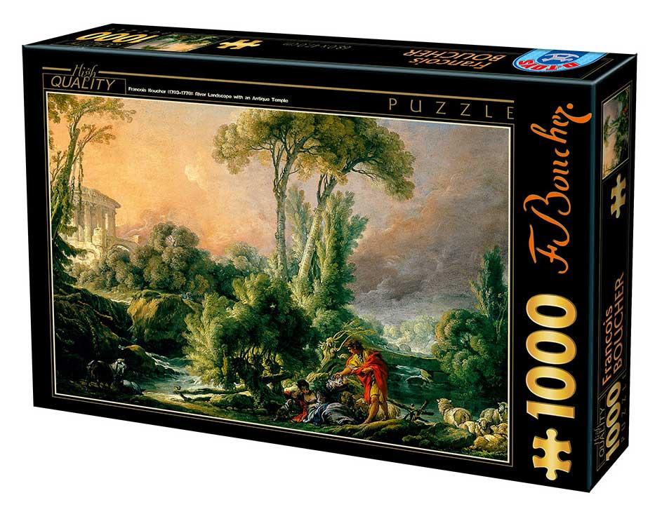 Puzzle D-Toys Paisaje Fluvial con Templo Antiguo de 1000 Pzs