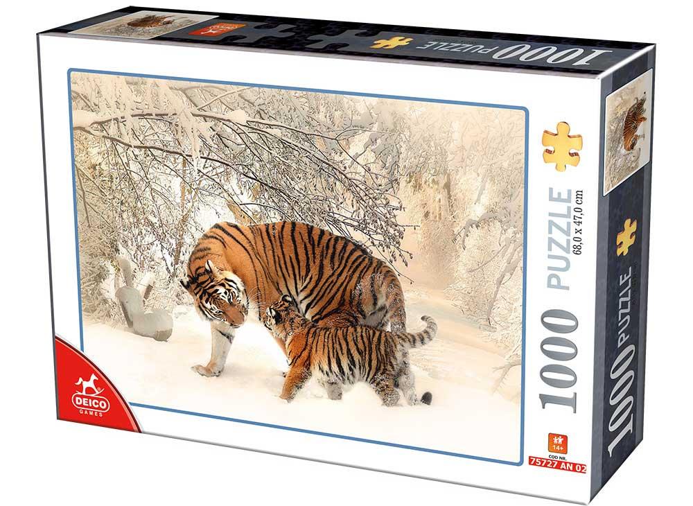 Puzzle D-Toys Tigres en la Nieve de 1000 Piezas