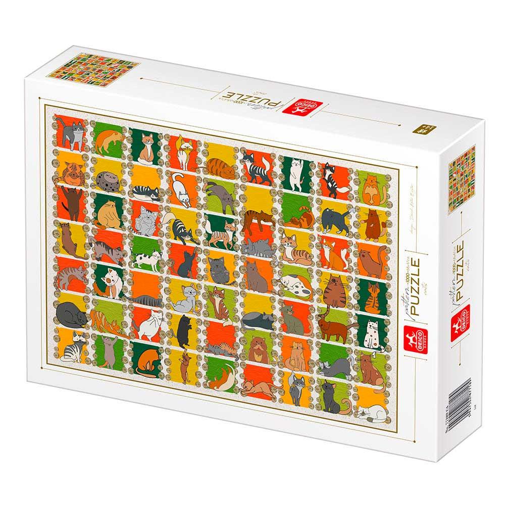 Puzzle Deico Collage de Gatos de 1000 Piezas
