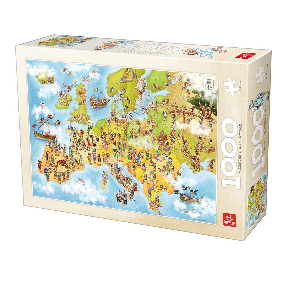 Puzzle Deico Mapa de Europa Animado de 1000 Piezas
