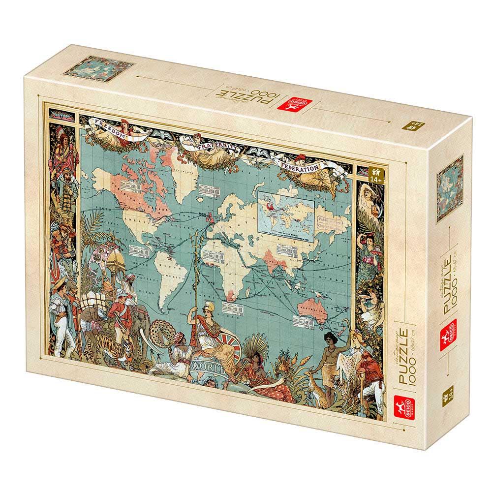 Puzzle Deico Mapa Vintage de 1000 Piezas